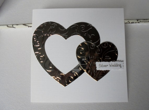Silver wedding anniversary card years married happy