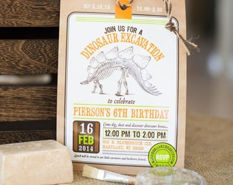 Dinosaur Excavation Dino Dig Paleontologist Fossil Science Birthday - Printable Customized Invitation