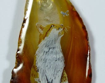 Ginger & White Cat  Hand Painted Pendant
