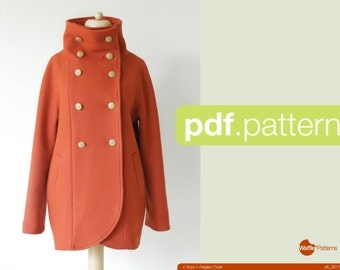 Couture de PDF motif femme manteau Raglan - Yuzu-(taille 34-48)