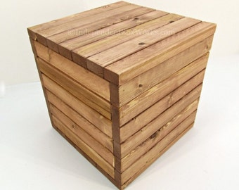 Made To Order: 10 Inch Storage Crate With Lid   Small Wooden Cube   Wood