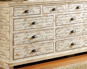 French Poem Craft Stencil - DIY Furniture and Home Improvement