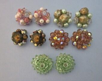 Vintage Earrings DeStash 5 pairs Bead Clips