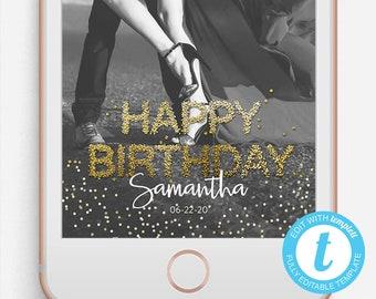 Birthday Snapchat Filter, Birthday Snapchat Geofilter, Birthday Filter, Editable Snapchat Filter, Templett, 30th Birthday