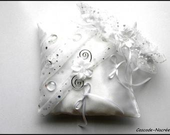 garter wedding white crystal flower aluminum silk ring bearer pillow