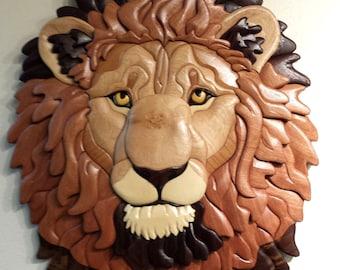Lion's Head Intarsia Wall Hanging