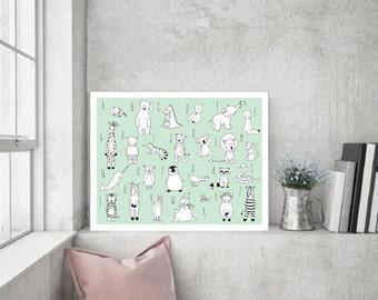 ABC Printable Animal Nursery Poster,Animal Nursery Art,Animal Nursery Decor,ABC Nursery Decor,Alphabet Poster Kids Nursery,ABC Baby Art