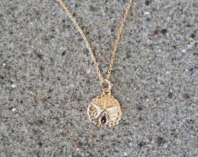 14K Gold Necklace, Tiny Sand Dollar, Gold Fill, Pendant