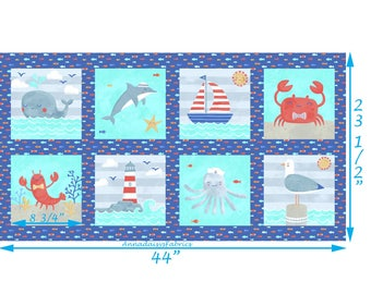 Nautical Fabric Panel, Whale, Dolphin, Sailboat, Crab, Seagull, Lobster, Lighthouse, Octopus, Clothworks Sail Away Y2149-31, Cotton