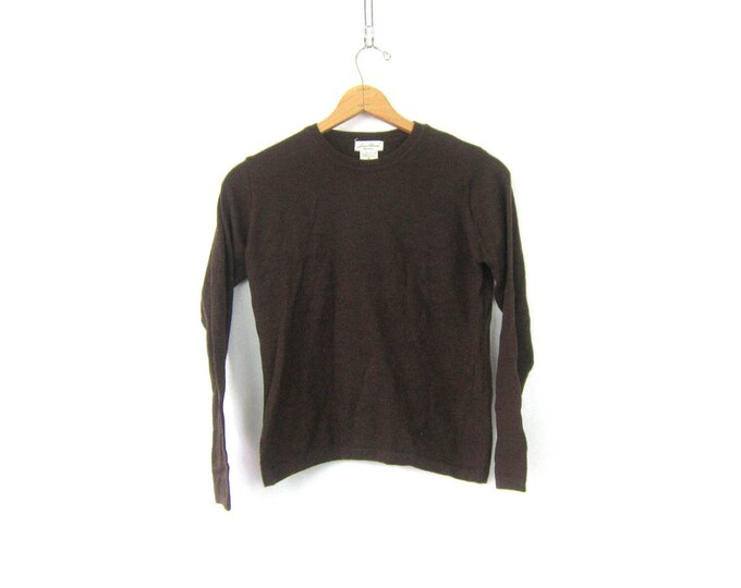 Plain Brown Sweater 80s Basic Soft Cozy Minimal Jumper Small Fit Hipster Top Merino Wool Sweater Vintage Minimalist Women's Size Small