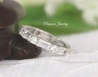 2.8ctw 3mm Eternity Wedding Band - Baguette & Round Ring - Sterling Silver Band - Stacking Ring - Anniversary Band - Wide Band