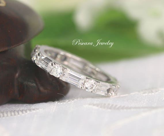 2.8ctw 3mm Eternity Wedding Band Baguette & Round Ring