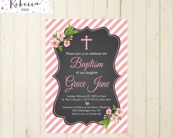 Baptism girl Invitation christening invitation first communion girl invitation confirmation invitation printable baptism invitation