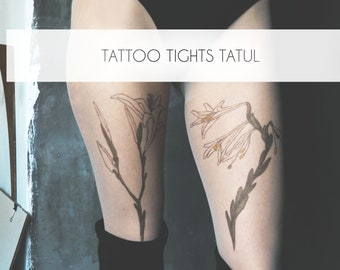 Tights with Lily Tattoo, original hand-painted botanical Lilium flowers on pantyhose by TATTOO TIGHTS TATUL