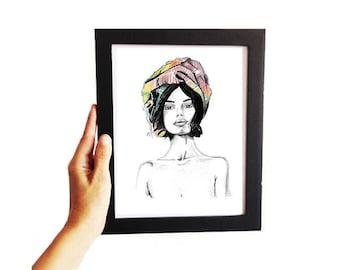 Turbante • Fashion Illustration | Glicée Art Print | Wall Art | Fashion Art