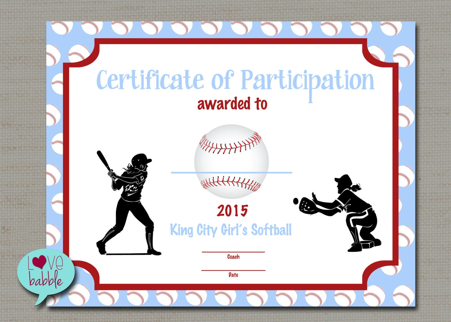 Girls softball baseball t ball award certificate printable zoom yadclub Image collections