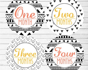 Monthly Baby Girl Stickers, Milestone Stickers, Baby Month Stickers, Monthly Bodysuit Sticker Monthly Sticker (Black White Tribal 1)