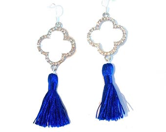 FIOCCA cobalt blue and silver tassel earrings