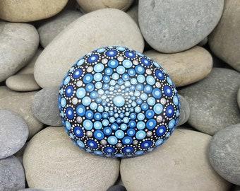 Blue Painted Rock - Mandala Stone - Hand-painted Meditation Mandala Stone - Geometry - Mandala Art - Painted Stone - Paperweight