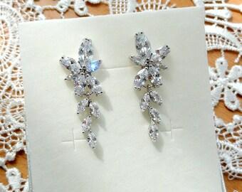 Bridal Earrings Crystal Wedding Earrings Bridal Jewelry Bride Earrings Wedding Jewelry Dangle Leaf Earrings Cubic Zirconia Silver Earrings