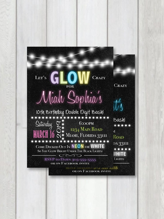 Glow Party Chalkboard Invitation Neon Party Printable