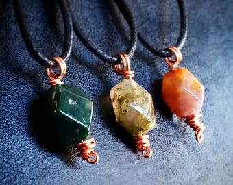 Vintage Jade Bead and Copper Pendant