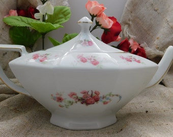Pretty Pink Roses on Pure White Vintage Victoria Teapot