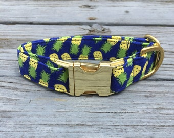 Pineapple Dog Collar, Summer Dog Collar, Dog Collar Boy, Dog Collar Summer, Dog Collar Pineapple, Dog Collar Blue, Dog Collar with Bowtie