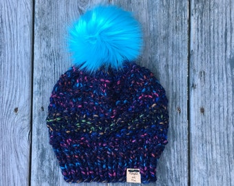 Chunky Knit Hat with Fur Pom, Textured Hat, Slouchy Hat with Pom, Knit Toque, Ski Hat, PumpkinAndPine, Made in Maine, Maine Made