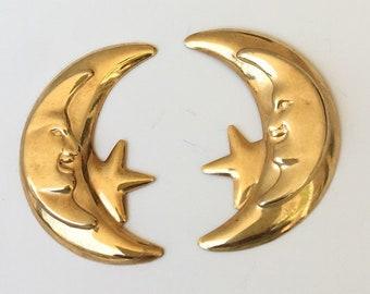Vintage moon & star earrings