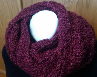 Crochet Lacy Cowl - Lacy Infinity Scarf - Lacy Cowl - Claret Red - Circle Scarf - Ready to Ship