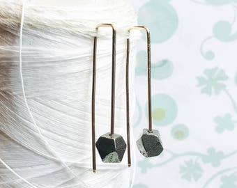 14K Gold Fill - Pyrite Threaders / gold threader earrings /pyrite earrings / contemporary earrings / modern minimalist earrings