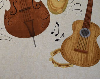 Music Instruments from the Classically Trained Collection by Debbie Mumm for Wilmington Prints.  Quilt or Craft Fabric, Fabric by the Yard.