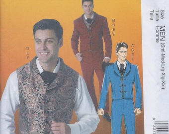 McCall's 7216 Men's Costume Jacket Vest Pants Tie Victorian Steampunk Flamenco Matador Mariachi Western UNCUT Sewing Pattern