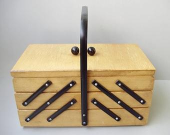 Vintage Knitting basket, sewing basket, sewing box, knitting box, organizer, jewelry box,jewelry holder