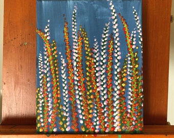 Tall Flowers: Original 8x10in acrylic fine art painting. Fine art floral painting. One of set of three.