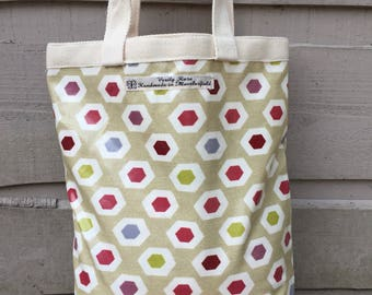 Beige lunch bag, beige lunch sack, beige handbag, Lunch Tote Bag, small shopping bag, shoe bag, beige lunch tote, oilcloth lunch sack,
