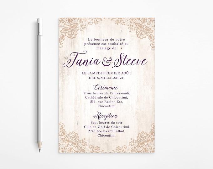 Rustic Burlap Wedding Invitation, Vintage, Wooden, Plum, Almond, Ivory, Printable