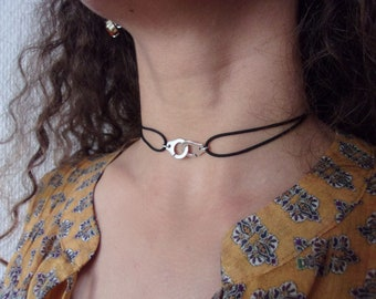 handcuff necklace and ajustable colored cord