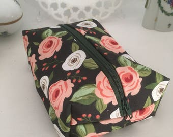 Pink and Navy Floral Cosmetic Case