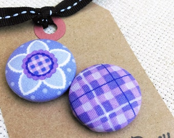 Purple Plaid Floral Needle Minder -  2 Piece Reversible Scout and Remy, for Cross Stitch, Sewing, Embroidery