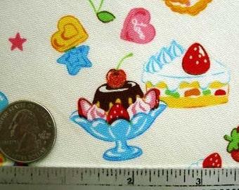 Rare & Out of Priint - Japanese SWEET TREATS CREAM Candy Quilt Fabric - Fat Quarter Fq Precut