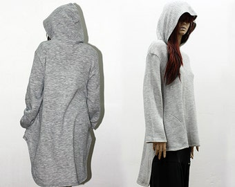 Asymmetrical Top / Extravagant Hooded Top / Light Grey Loose Top /  Quilted Cotton Top