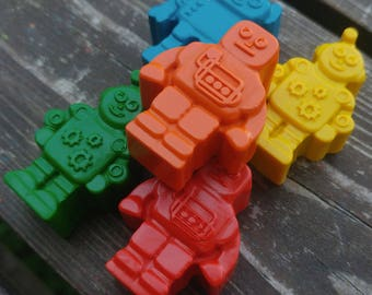 Robot Crayons Set Of 24 - Robot Party Favors - Robot Crayons - Robot Birthday Party Favors - Party Favors - Robot Gift - Crayons - Robots