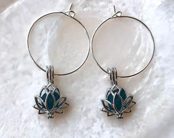 Sea Glass Lotus Locket Hoop Earrings Sterling Silver Lockets by Wave of Life™