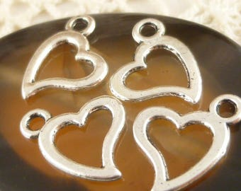 Simple, Small, Two Sided Heart Charms, Antique Silver (10) - S5