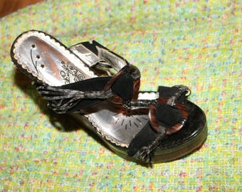 Brown WEDGE 90s Sandals Shoes Vintage 1990s Couture Old Designer High Fashion Heels Size 7.5