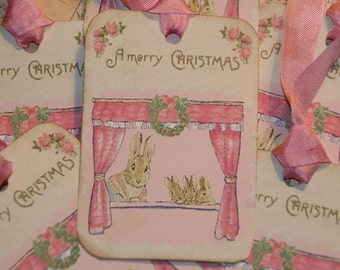 Bunny Tags, Christmas Gift Tags, Merry Christmas Tags, Beatrix Potter, Holiday Tags