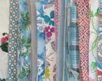 """Vintage 3 1/2"""" x 5 1/2"""" Shades of turquoise/peach/grey rectangle fabric pieces for repurposing - 8 ounces - various cotton types"""