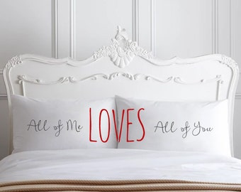 All Of Me Loves All Of You Couple Pillow cases Home Decor 2nd Cotton Anniversary Wedding Gift John Legend Valentine's Day Pillowcases ideas